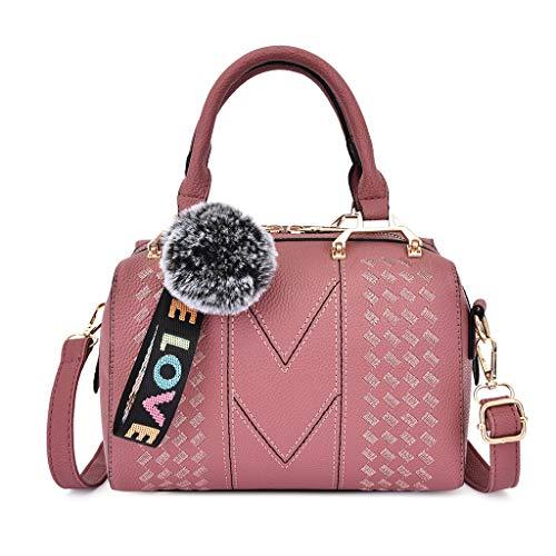 About1988 Damen gestickte Handtaschen Kurier Umhängetasche, PU Leder Umhängetasche Shopper Tote Henkeltasche, Shopper Handtasche Elegant Groß Damen Tasche (Rosa) - Leder Gestickte Brieftasche