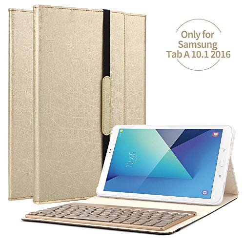 boriyuan Samsung Galaxy Tab A 10.1 Bluetooth Tastatur Hülle Keyboard Leder Case Cover mit Alu Bluetooth Tastatur (Deutsche QWERTZ) abnehmbar für Samsung Galaxy Tab A 10.1