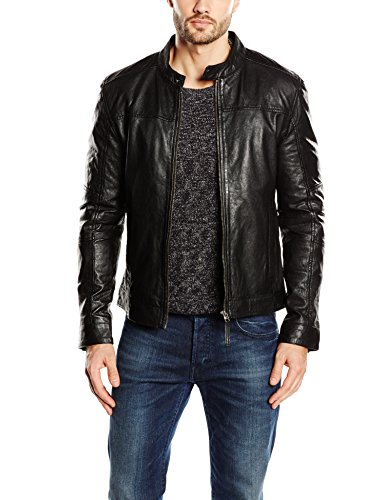 Kings on Earth Herren Lederjacke Rash, Gr. X-Large, Schwarz (schwarz 1)