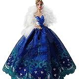 Creation® robe de bal élégante Belle Broderie Design Fête Soirée de mariage pour la poupée Barbie-Blue