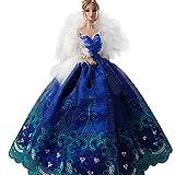 Creation® elegante bellissimo ricamo Design Vestito da sfera di nozze da partito di sera per Barbie Doll-Blu