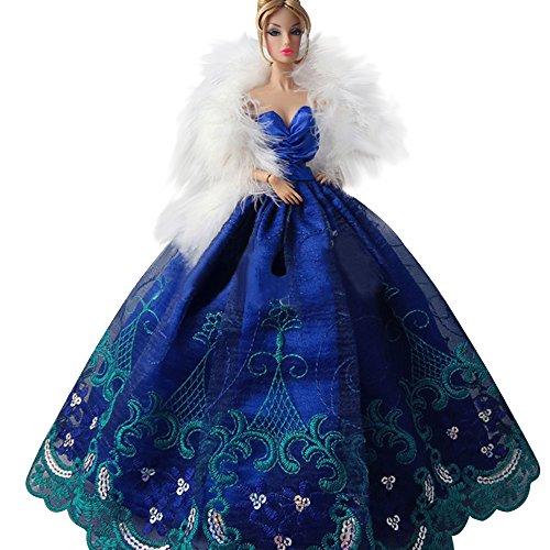 Creation® Elegante schöne Stickerei-Entwurfs-Hochzeit Abend-Partei-Kugel-Kleid für Barbie-Puppe-Blau (Kleid Schuhe Blaues)