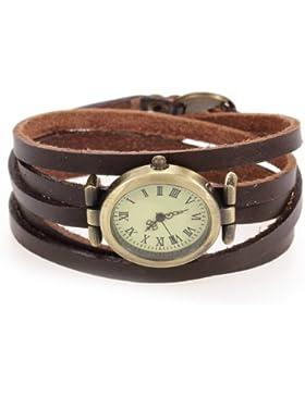 TOOGOO(R) Mode Uhr Quarzuhr Armbanduhr Herrenuhr Damenuhr Unisex PU Oval Dunkelbraun HOT