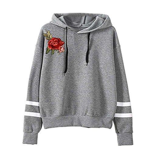 VECDY Damen Pullover,Räumungsverkauf- Herbst Damen Stickerei Applique Langarm Hoodie Sweatshirt Pullover mit Kapuze Pullover Modern Pulli Sweatshirt Tuniken T-Shirt Pullover Hoodis(Grau,48) Applique Zip Sweatshirt