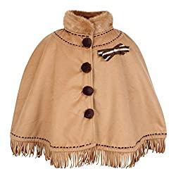 Cutecumber Girls Coat Fabric Embellished Light Brown Poncho. 2468A-BROWN-36