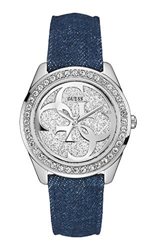 Guess (GVSS5) Women's Quartz Watch with Silver Dial Analogue Display and Blue Leather Bracelet W0627L1