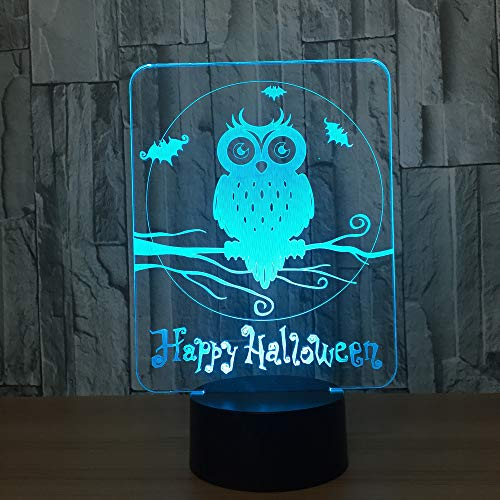 Xiujie Happy Halloween Owl 3D Led Lampada 7 Colori Visual Led Night Lights Per Bambini Touch Usb Table Baby Sleeping Nightlight