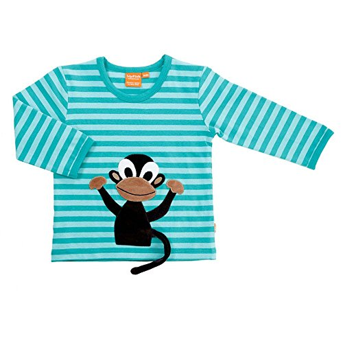 LIPFISH Jungen T-Shirt Langarm Aquablue Gestreift Affe 3-D BioBaumwolle - Größe: 104 Gestreiftes Shirt Affe