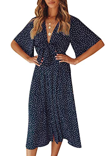 Yidarton Sommerkleid Damen V-Ausschnitt Polka Dot Midikleid Knielänge Vintage Boho Kurzarm Strandkleider (Marine, L) (Kleid-up Frauen Für Kleidung)