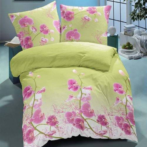 Orchids - SoulBedroom Bedding , 100 % Cotton Sateen ( duvet cover and pillow ) , green, 240 x 220 cm + 2 pillow cases 65 x 65 cm