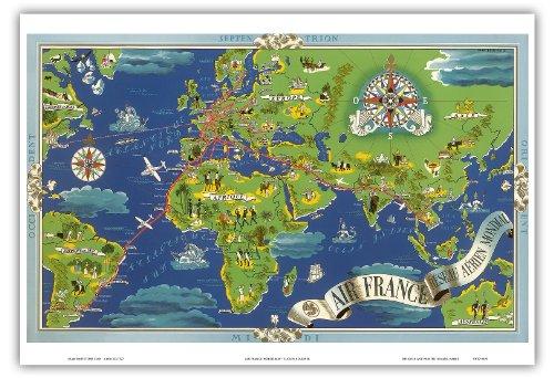 rseau-arien-mondial-rseau-arien-mondial-voler-itinraires-carte-du-monde-air-france-planisphre-vintag