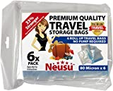Neusu Roll Up Travel Vacuum Bags, Premium 80 Micron, 6 Pack Medium 35x50cm