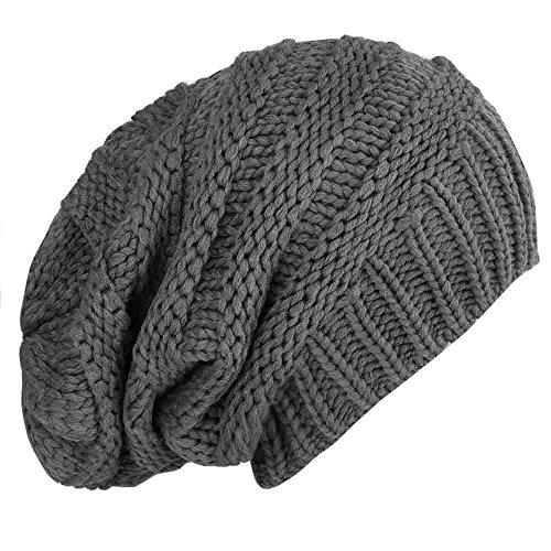 caripe Mütze Long Beanie Strickmütze - viele Farben und Modelle - Snö (visk-long - anthrazit) (Beanie Long)