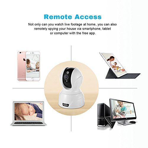 SANNCE IP Camera Sorveglianza Casa Videocamera Wireless senza Fili Videosorveglianza Visore Notturno Rilevatore di Movimento Bianco per Casa Ufficio