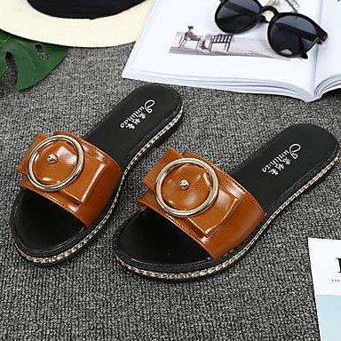 Zormey Damen Sandalen Komfort Slingback Leichte Sohle Pu Sommer Outdoor Casual Flachem Absatz Weiß Schwarz Braun Flach US6.5-7 / EU37 / UK4.5-5 / CN37