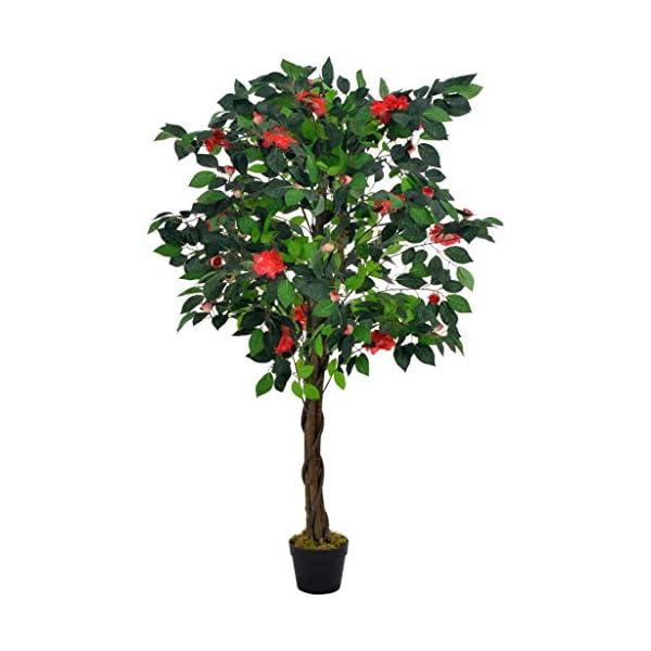 Tidyard Planta Artificial de plástico, Camelia Artificial Verde y roja con macetas, decoración de Oficina 125 cm.