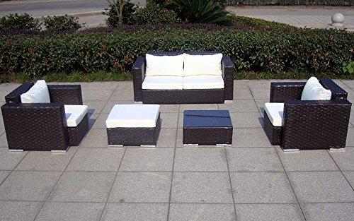 Baidani Gartenmöbel-Sets 10c00042.00002 Designer Rattan Lounge-Garnitur Calypso, 1 2-er-Sofa, 2 Sessel, 1 Hocker, 1 Couch-Tisch mit Glasplatte, braun - 7