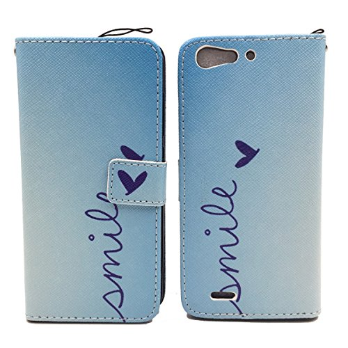 König-Shop Schutz Hülle Wallet Rahmen Bumper Handy Tasche Case Cover Leder-Imitat Bookstyle, Motiv:BÄR DONT TOUCH MY PHONE, Für Handy:Apple iPhone 6 / 6s Plus (5.5 Zoll) SMILE BLAU
