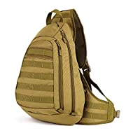 Huntvp Tactical Cross body Backpack Military Sling Chest Pack Molle Daypack Large Laptop Daypack Waterproof Shoulder Bag Army Equipment Gear for Cycling Riding Camping Brown