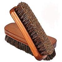 Shoe Brush, Bebester 2 PCS Horsehair Brush Shoe Shine Brush Buffing Polishing Brush for Boots, Shoes, Furniture, Car Seats, Interiors, Sofas, bags