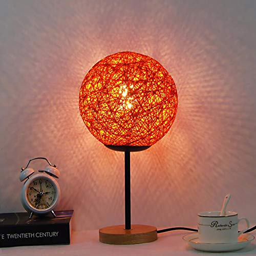 Sunzy LED-Schreibtischlampe, kreatives Schlafzimmer Holzschrank Lesung Nachtlicht, Twine Rattan Kugel Starry dekorative Nachttischlampe,Red