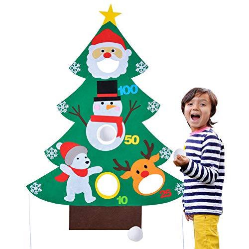 ZOYLINK Weihnachtsspiel Kreative Lustige DIY Filz Weihnachtsbaum Toss Spiel Kinder Party Spiel (Für Online Spiele Halloween Lustige)