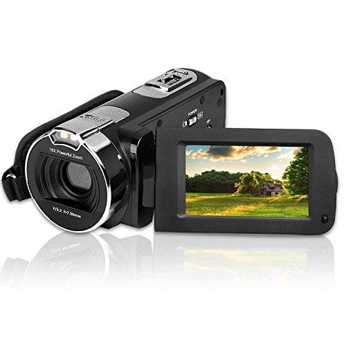 Videokamera DigitalCamcorder, CamKing HDV-312 3,0 Zoll Bildschirm,1080P FHD 24MP Digitalkamera mit 270 Grad Drehbildschirm,Kamera mit 16x Fachem Digitalzoom