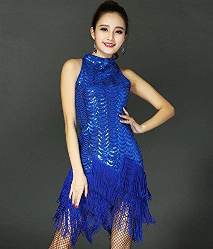 Latin Wettbewerbs Dance Kostüm - RENMEN Latin Dance Kleidung weiblicher Erwachsener Kostüm Wettbewerb Quaste Kleid Rock, l