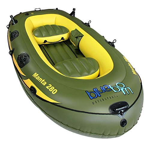 BLUEBORN Unisex – Erwachsene BLU1107-4260371520705 Manta Angelboot 280x155 cm Boot Ruderboot für 3 Personen Schlauchboot Paddelboot Grün one size