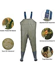 Hisea Hombres PVC / Nylon Vadeador de Pesca Pantalones Respirable Pesca Waders,Tamaño 5.5-10.5