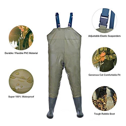 Hisea Anglerhose Wathose mit Stiefeln kältebeständig 38-46