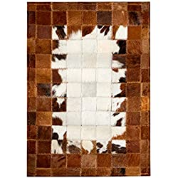 Fydnp Cuero Alfombra De La Puerta - Colección Moderna De Celosía De Color Marrón Blanco - Alfombra De Piel De Vaca Natural Patchwork Area - Alfombra De Cuero Vaca Hecha A Mano,50×120cm