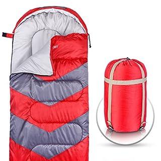 Abco Tech Schlafsack – Umschlag leicht, tragbar, wasserdicht, Komfort mit Kompressionssack, ideal für 4 Jahreszeiten, Reisen, Camping, Wandern, Outdoor-Aktivitäten. Einzelbett, rot
