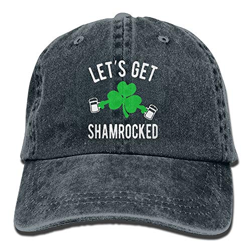 jiilwkie Let's GET Shamrocked St Patty's Day Vintage Washed Dyed Cotton Twill Low Profile Adjustable Baseball Cap Black (Pattys St Hats Tag)