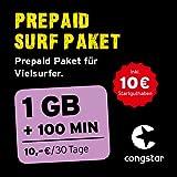 congstar Prepaid Surf Paket [SIM, Micro-SIM und Nano-SIM] - Das Prepaid Paket für Vielsurfer in bester D-Netz-Qualität (100 Min., 50 SMS, 1 GB für 10€/30 Tage). Inkl. 10 EUR Startguthaben preiswert