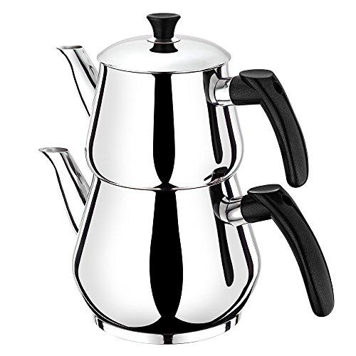 Ertex Türkischer Teekocher |Tee- und Wasserkocher Demlik Caydanlik Semaver Samovar PIRAMIT MINI (Schwarz)