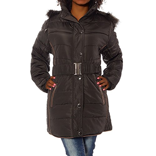 G759 Damen Winter Jacke Steppjacke Parka Jacket Daunen Look Winterjacke Braun