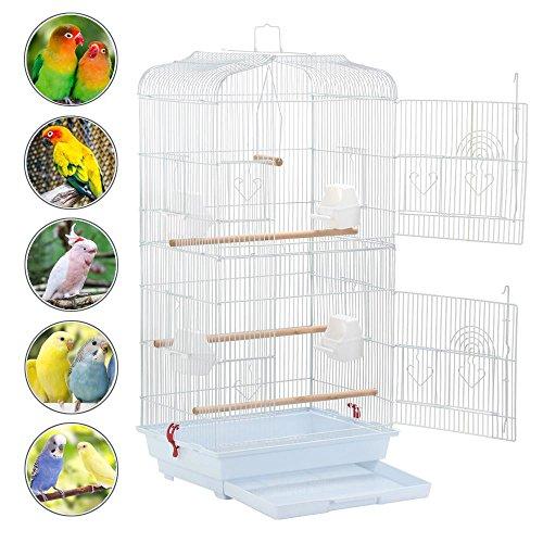 Yaheetech Vogelkäfig Vogelvoliere Tierkäfig Vogelhaus für Papagei Wellensittich, 46 x 36 x 92cm(Weiß)