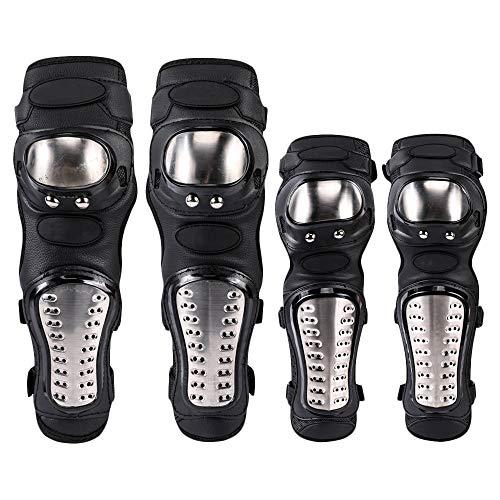 ZN 4 pack Motorrad-Knieschützer, Ellenbogen Knieprotektoren Schienbeinschutz Erwachsene legierung Rüstungsschutz Schienbeinschoner Guard Pads Protector Kit für Erwachsenen Motocross Fahrrad