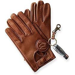 Swift Wears Guantes de conducción clásicos para hombre de piel de vacuno auténtica, color marrón oscuro Marrón canela 80