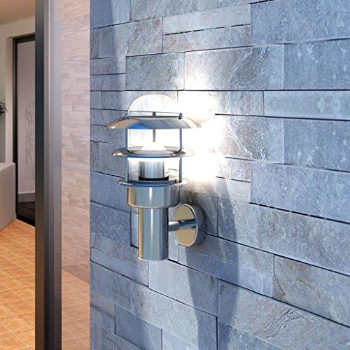 Lingjiushopping Patio LED Wandleuchte Lampe Edelstahl Aussenlampe Schutzklasse: IP44 Leistung: Gluhlampe (Max. 60 W (GLS), 11 W (CFL)), Birne nicht enthalten Aussenlampe -