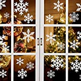 Yuson Girl 81 Stk Schneeflocken Fensterbild mit 5 Stk DIY Weihnachtssticker Abnehmbare Weihnachten Aufkleber Fenster Weihnachten Deko Wandtattoo Weihnachten Statisch Haftende PVC Aufkleber