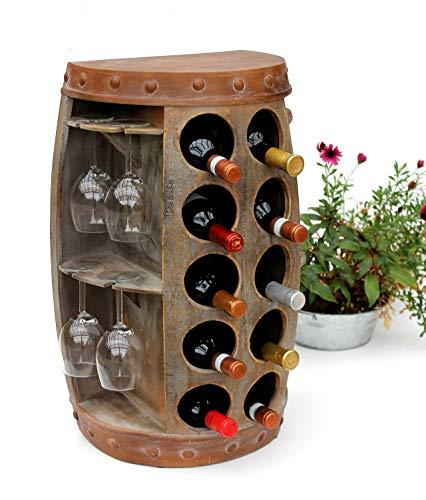 DanDiBo Weinregal Weinfass 1547 Beistelltisch Schrank Fass aus Holz 65cm Weinbar Bar Wandtisch Flaschenregal -