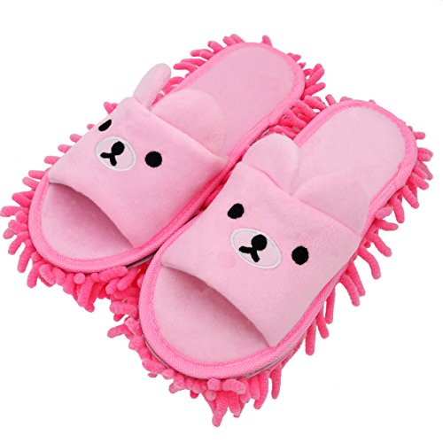 p Pantoffeln Bild Bär Rosa, Hausschuhe mit Wischmopp,Bequeme Hausschuhe Zum zeitsparenden Bodenputzen [18cm Kinder Größe] ()