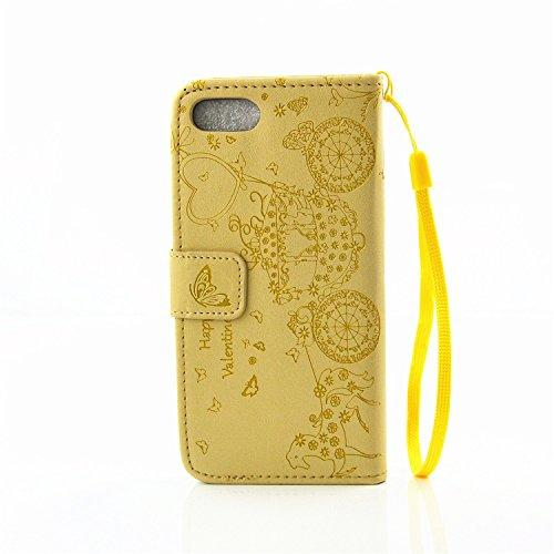iPhone Case Cover Harzrhinestone Geprägte Blumen-Schmetterlings-Muster-Fall-Folio Standplatz-Fall PU-Leder-Kasten mit Cash-Karten-Slot und Foto Fenster Handschlaufe Standplatz-Fall für IPhone 7 ( Colo Gold