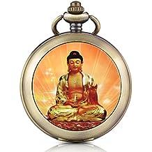 Reloj de bolsillo Infinite U, retro, Buda Tathagata con medallón colgante para foto, dial blanco con números romanos, llavero/collar cadena larga