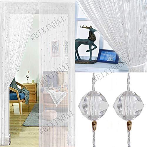 UNIAI Cortina De Puerta Borla Llana De Cristal 90x200cm