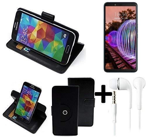 K-S-Trade® Case Schutz Hülle Für -JVC J20- + Earphones Handyhülle Flipcase Smartphone Cover Handy Schutz Tasche Walletcase Schwarz (1x)