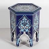 Casa Moro Rakia Table Basse Orientale marocain Peint à la Main Vintage Bleu