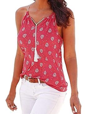 Fossen Mujer Blusa Camisa - Sin Mangas - Cordón - Elegante y Moda